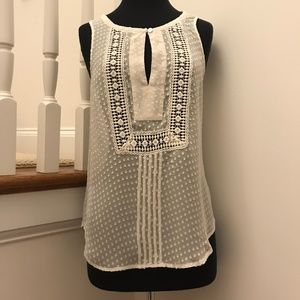 Meadow Rue Anthropologie Ivory Sheer Top Small